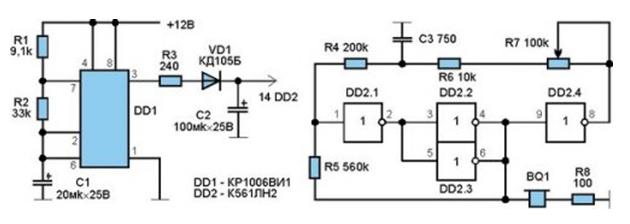 Схема подсоединения генератора Схемы датчиков